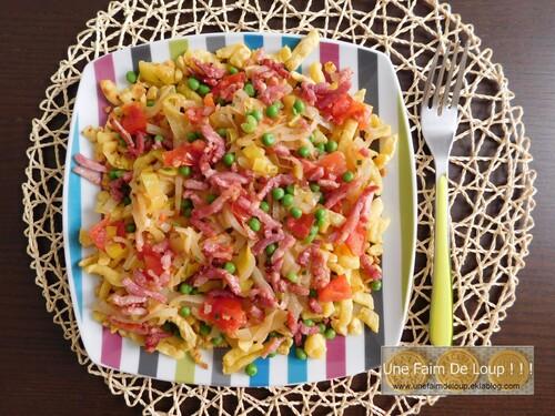Spaetzle aux légumes et lardons