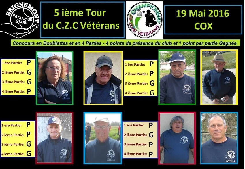 Championnat de Zone Vétérans 5 ième Journée.
