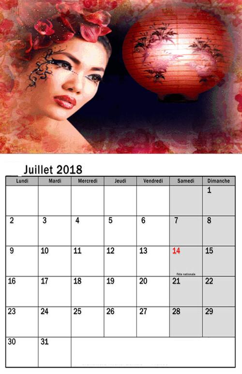 Calendrier JUIN 2018