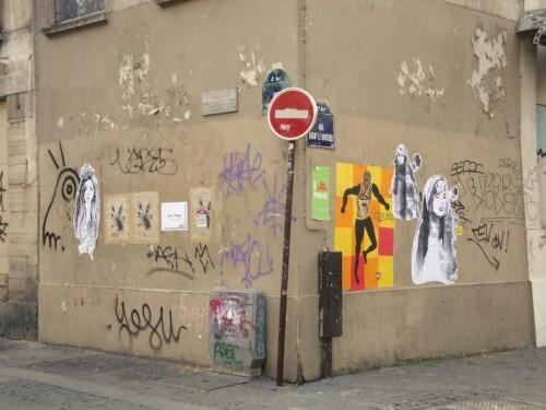 papier collé tag Quincampoix Beaubourg papier collé danse