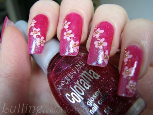 Nail Art Fleurs Roses
