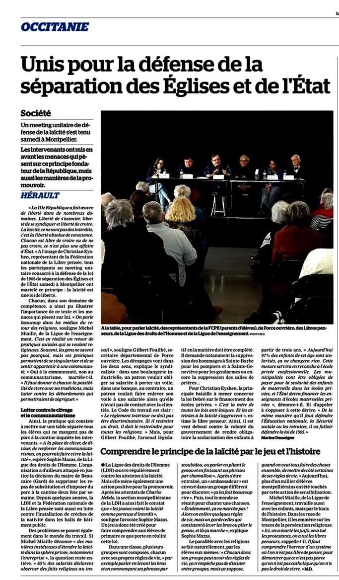 Succès du meeting laïque unitaire du 7 avril à Montpellier