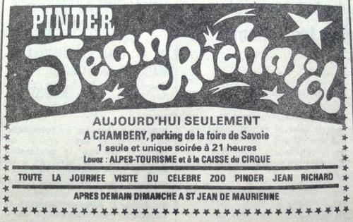 le cirque Pinder Jean Richard en Savoie en 1974 ( archives Thierry Pajean)