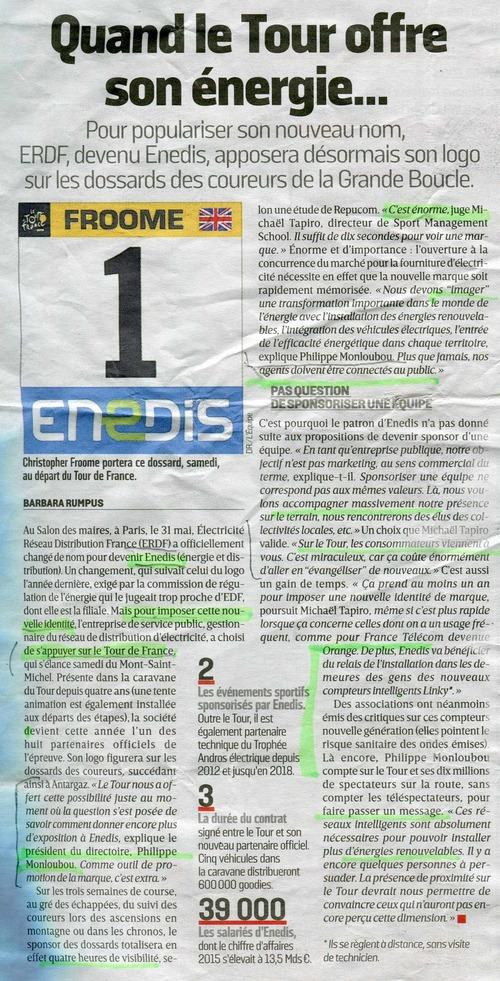 Enedis, sponsor du Tour de France pour mieux vendre Linky