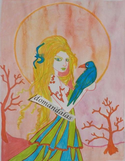 DOMANDALAS coloriage elfe et son corbeau Molly Harrison