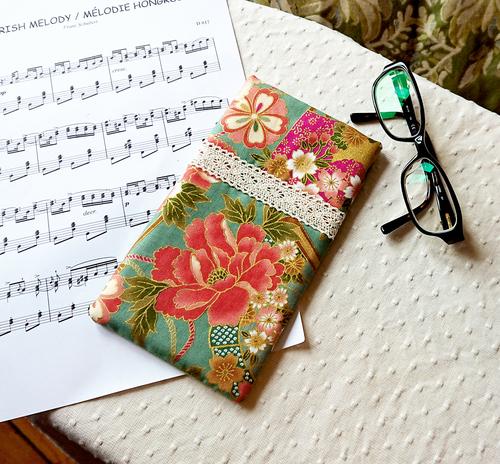 Etui molletonné pour téléphone, lunettes, maquillage, Tissu floral coton japonais rose vert,18,5 x 10,5 cm