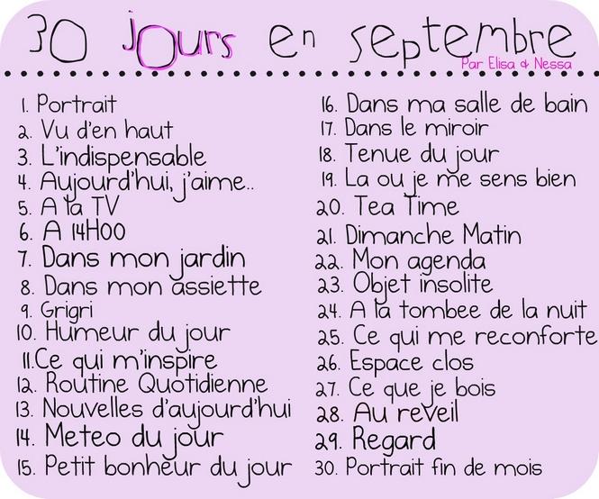 - En Intimité - Challenge : 30 jours en Septembre