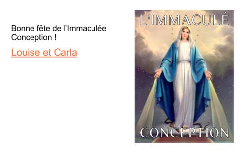 8 décembre : l'Immaculée Conception