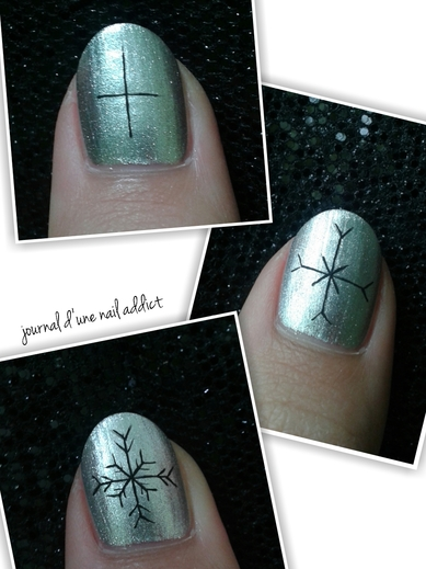 step by step nail art flocons de neige