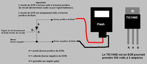 Schéma de connexion du flash au circuit