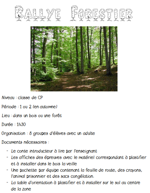 Organiser un rallye forestier au CP