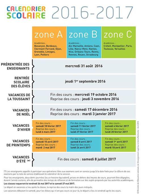 Pour bien planifier, calendrier officiel