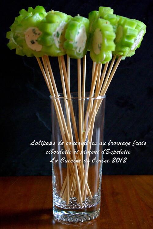lolipos de concombre chèvre frais et piment d'espelette