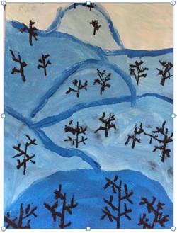 Nuances de bleus, montagne en hiver