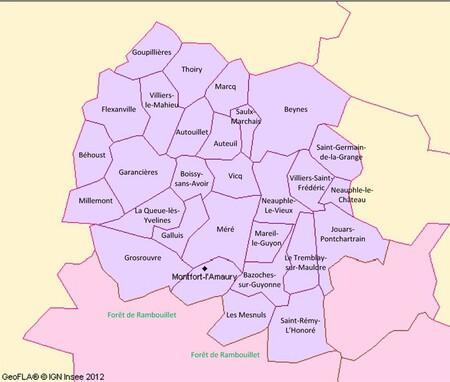 Carte du canton de Montfort l'Amaury