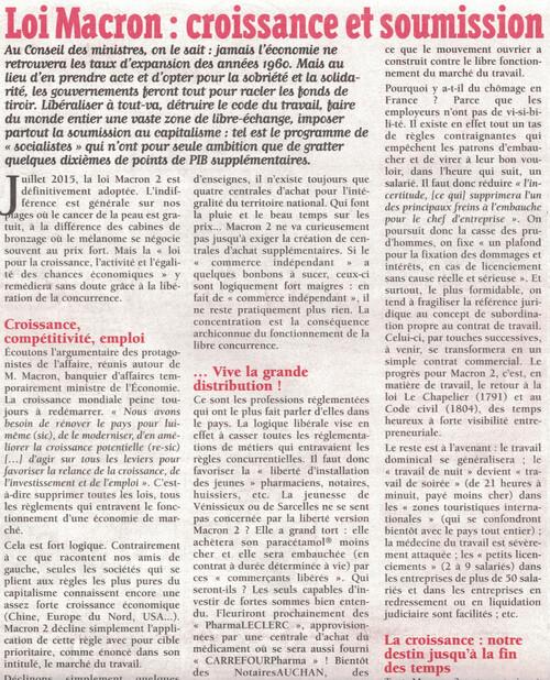 Loi Macron : Croissance et Soumission