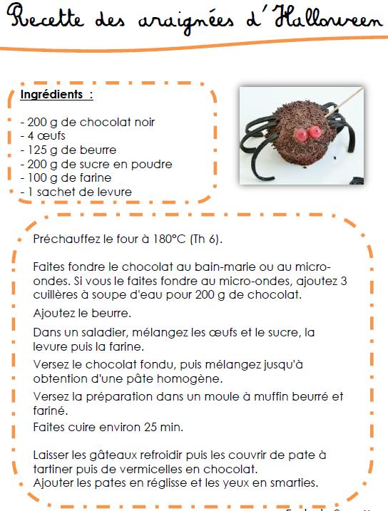 recette des araign es en chocolat d 39 halloween l 39 cole de crevette. Black Bedroom Furniture Sets. Home Design Ideas