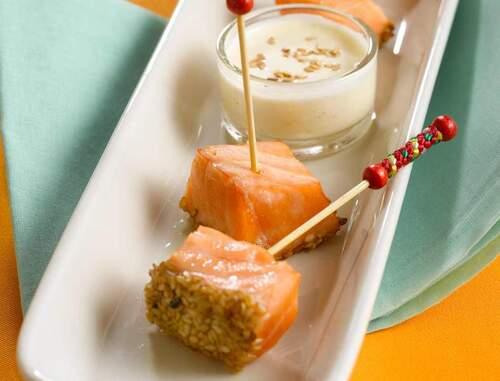 bouchée de saumon croustillant