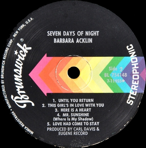 "Barbara Acklin : Album "" Seven Days Of Night "" Brunswick Records BL 754148 [ US ]"