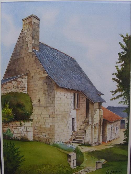 La Devinière de Rabelais réalisée à l'aquarelle par Michel LE BRIGANT Artiste Peintre en Touraine