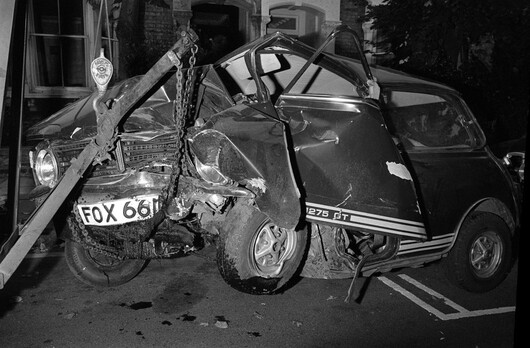 The wreckage of the purple mini in which 29 year old pop star Marc Bolan, of the group T-Rex, was killed in, on 16/09/1977. The car was driven by his girlfriend, American singer Gloria Jones, who crashed into a tree in Gipsy Lane, Barnes, in London.
