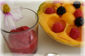 MELON AUX FRUITS ET SON COULIS DE FRAMBOISES
