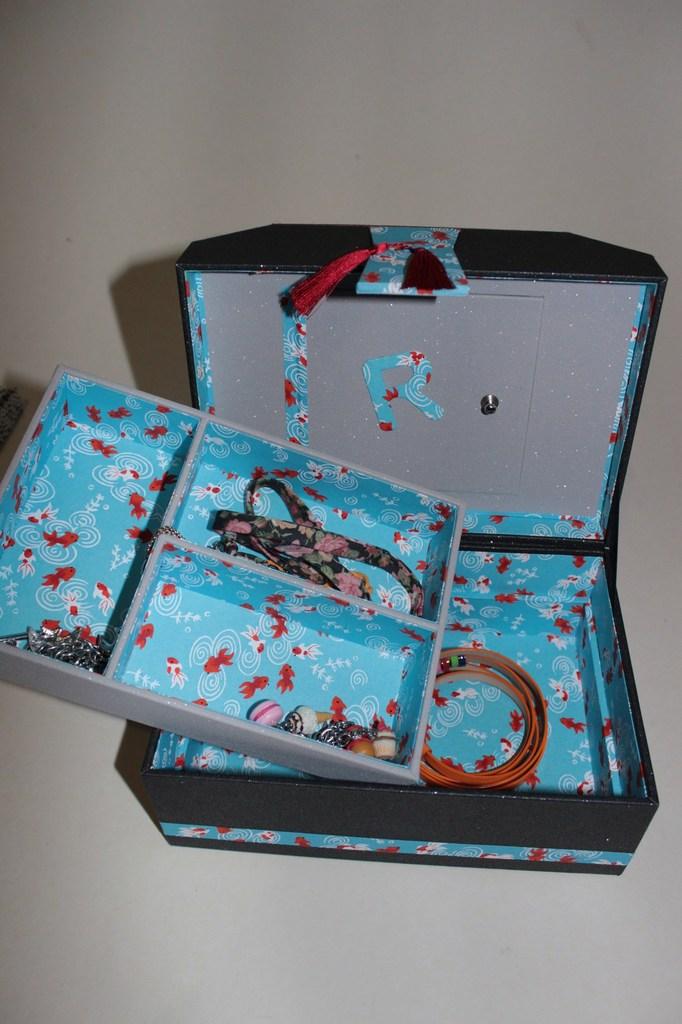 Cartonnage, coffret à bijoux avec plateau