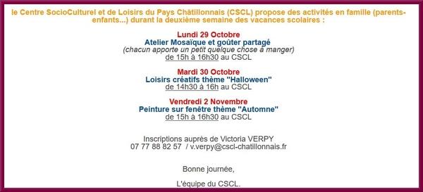 Les activités au CSCL pour les prochains jours...