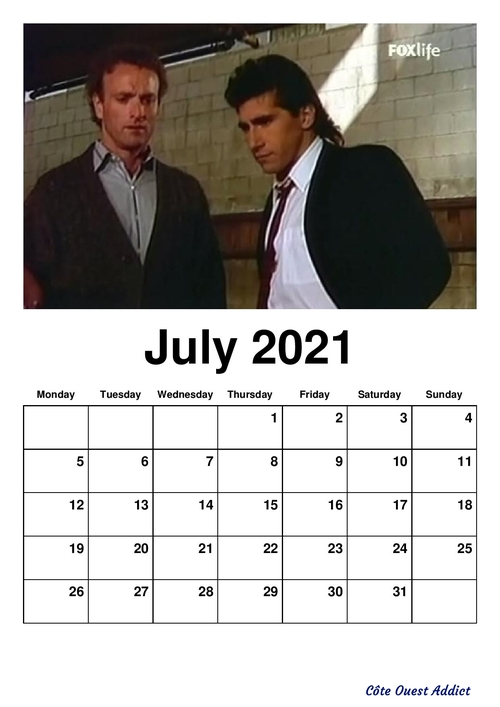 Calendriers mensuels en anglais ,dédié à Kevin Dobson./ Monthly calendars in English, dedicated to Kevin Dobson.