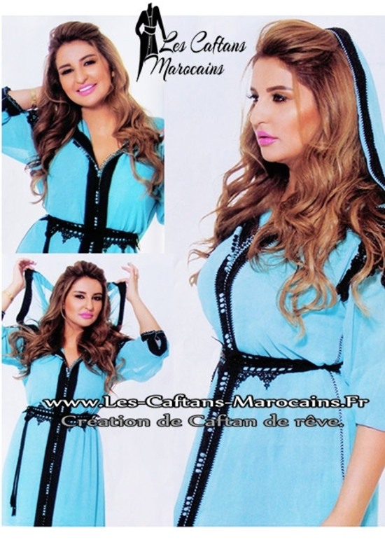 Djellaba-marocaine-avec-motifs--turquoise-pas cher et en ligne DJ-S940aa