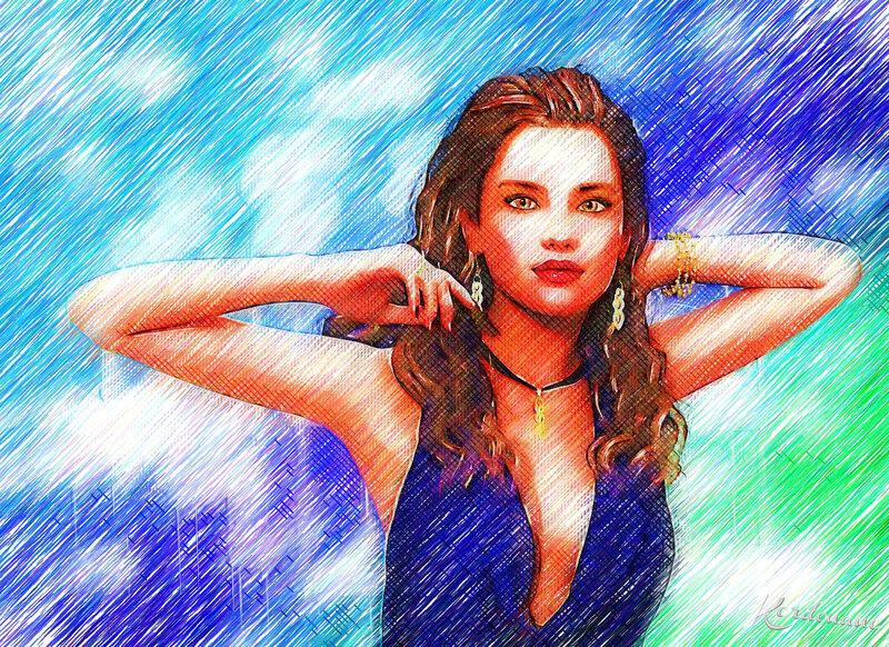Fond d'écran femme en bleu N°2