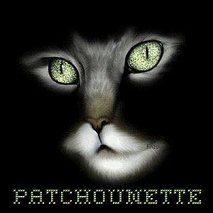 Patchounette chat noir yeux vert