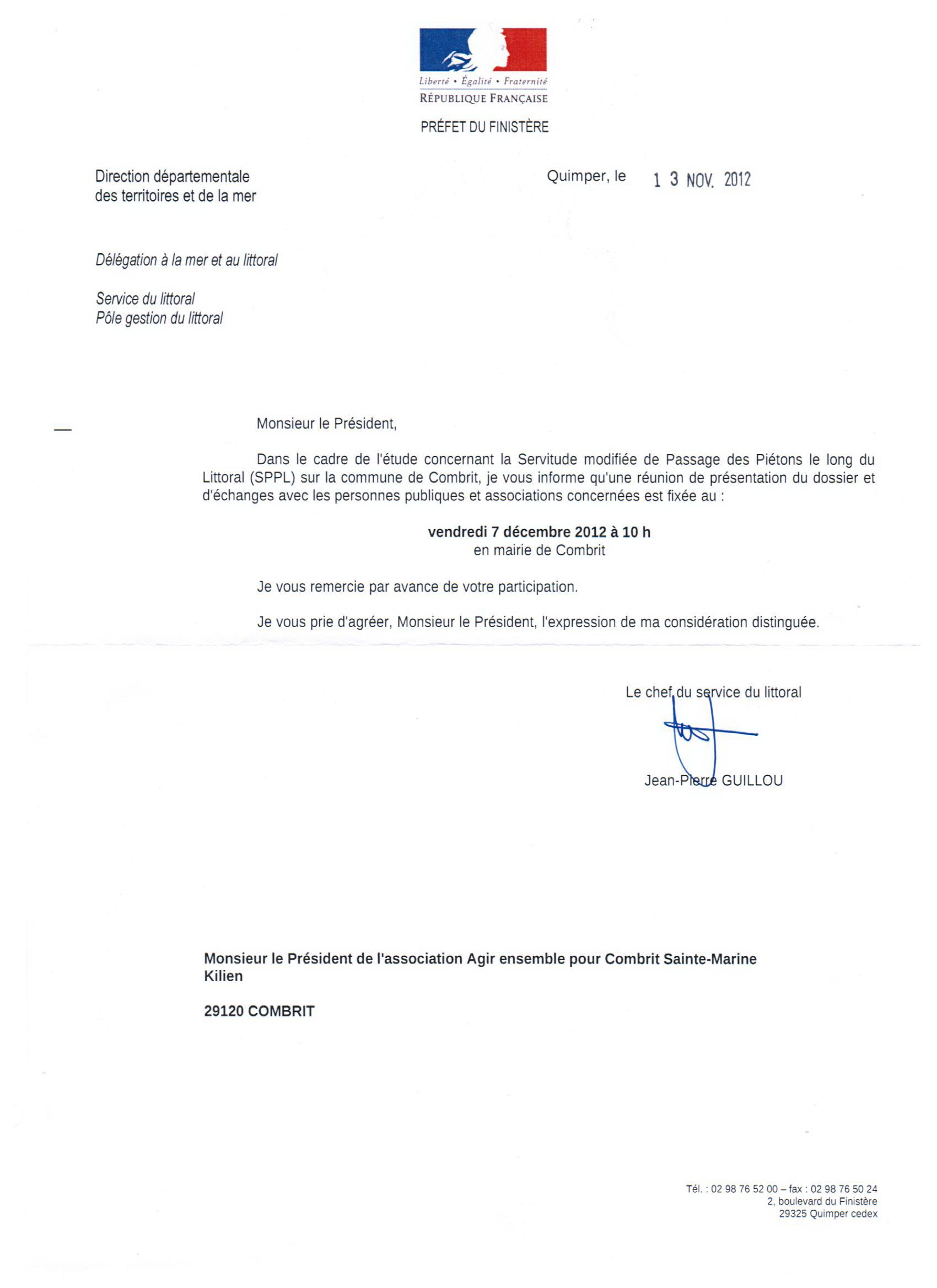 Lettre DDTM Sentiers Littoraux