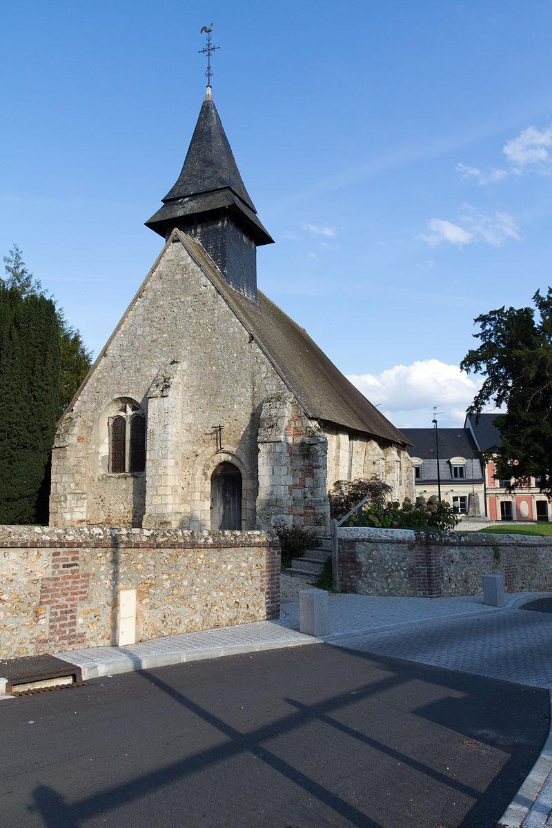 Vue ouest de l'église Saint-Melaine (Pont-l'Évêque, Calvados, France).jpg