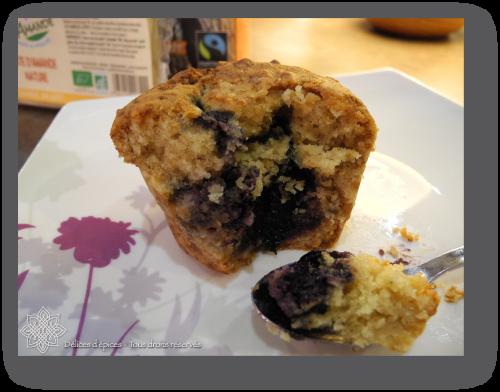 Muffins à la pâte d'amande, coeur de myrtille