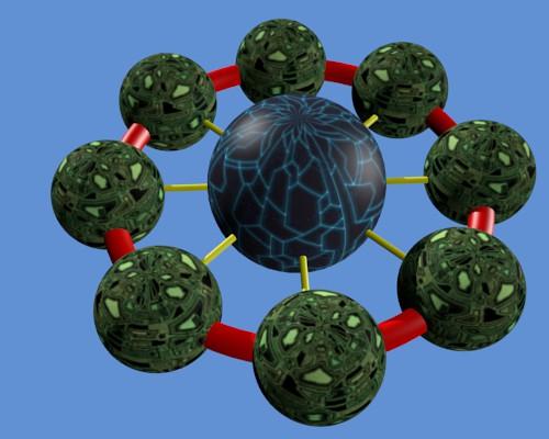 La sphère dupliquée et ayant un aspect de technologie