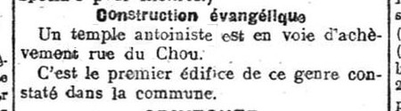 Construction du temple à Herstal (Le Messager de Bruxelles, 29 août 1917)(Belgicapress)