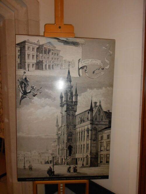 Beffroi de Saint-Nicolas - intérieur - lithographie