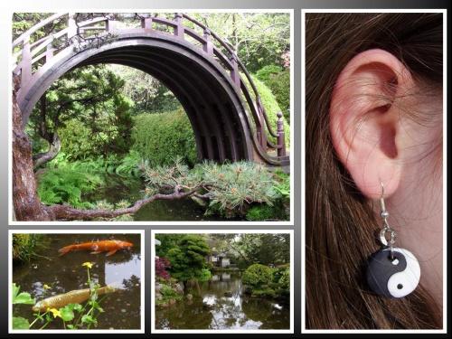 Boucles d'oreilles YING YANG réalisées par Sylvie LE BRIGANT, créatrice de bijoux ZEN