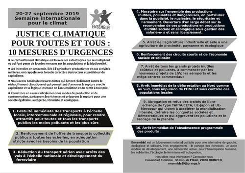 Justice climatique  tract Ensemble Finistère !  20 / 27 Septembre 2019