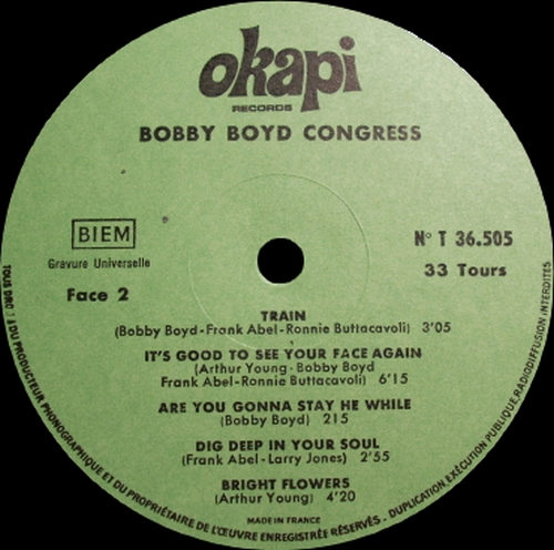 "Bobby Boyd Congress : Album "" Bobby Boyd Congress "" Okapi Records T 36.505 [FR]"