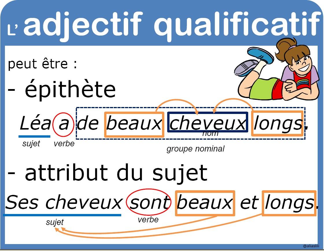adjectif, reconnaitre l'adjectif,exercices adjectif,fiches