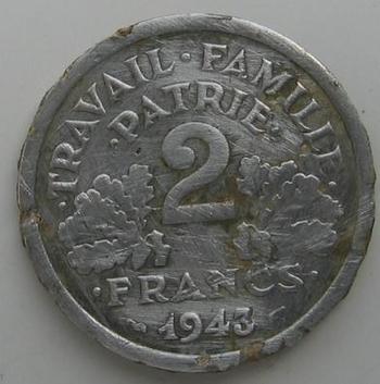 2 francs Bazor 1943 revers