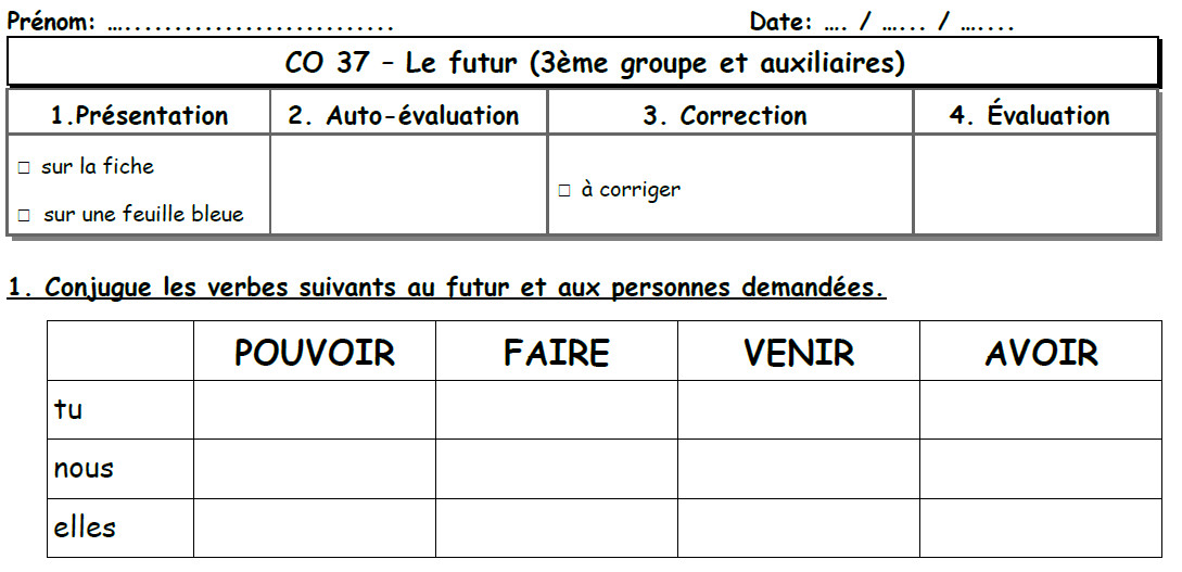 Le Futur Des Verbes Du Troisieme Groupe Les Ce2 De Mimi
