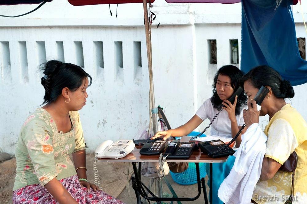 Rangoun - Téléphone public