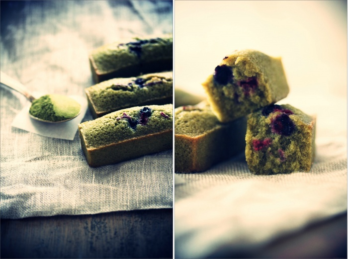 Financiers au thé matcha & fruits rouges