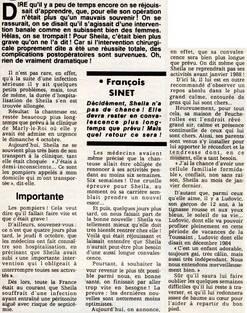 04 octobre 1987 : Sheila opérée d'urgence !