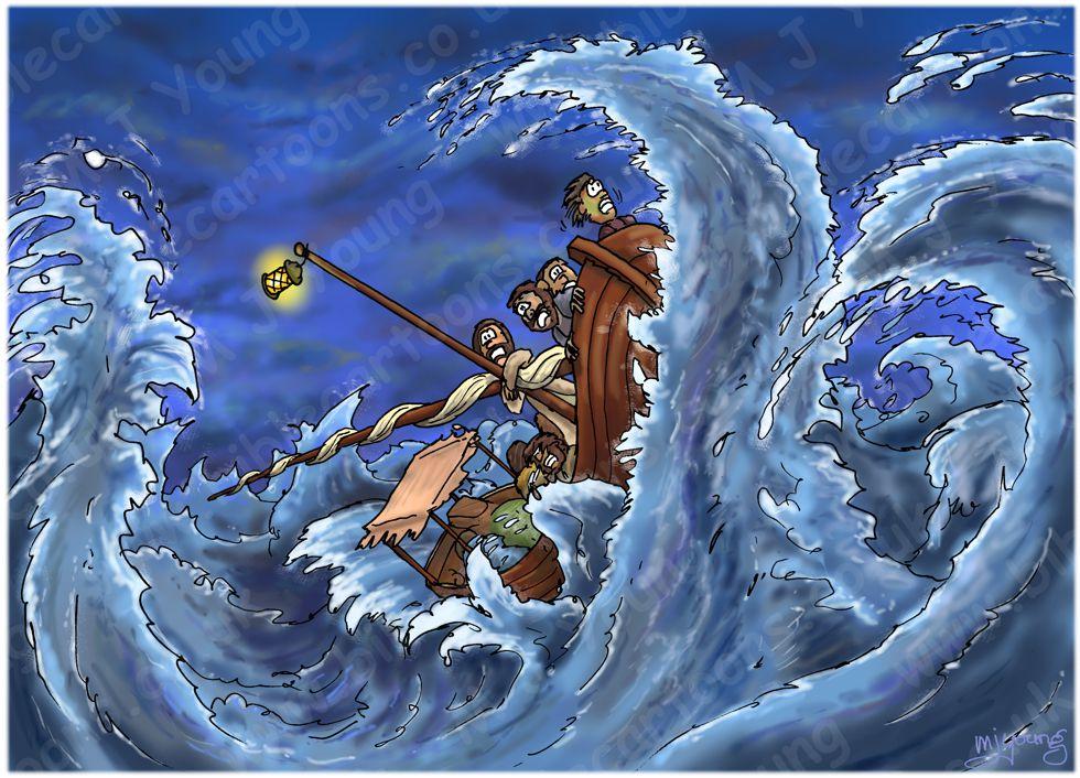 Mark 04 - Jesus calms a storm - Scene 02 - Fierce storm 980x706px col.jpg