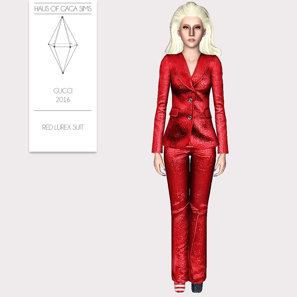 GUCCI 2016 RED LUREX SUIT