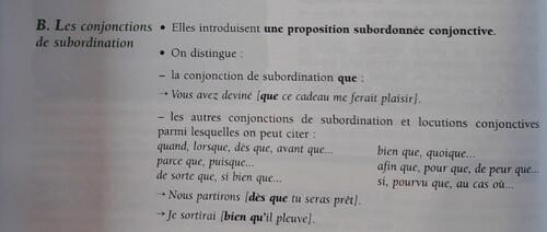 B / Les conjonctions de subordination